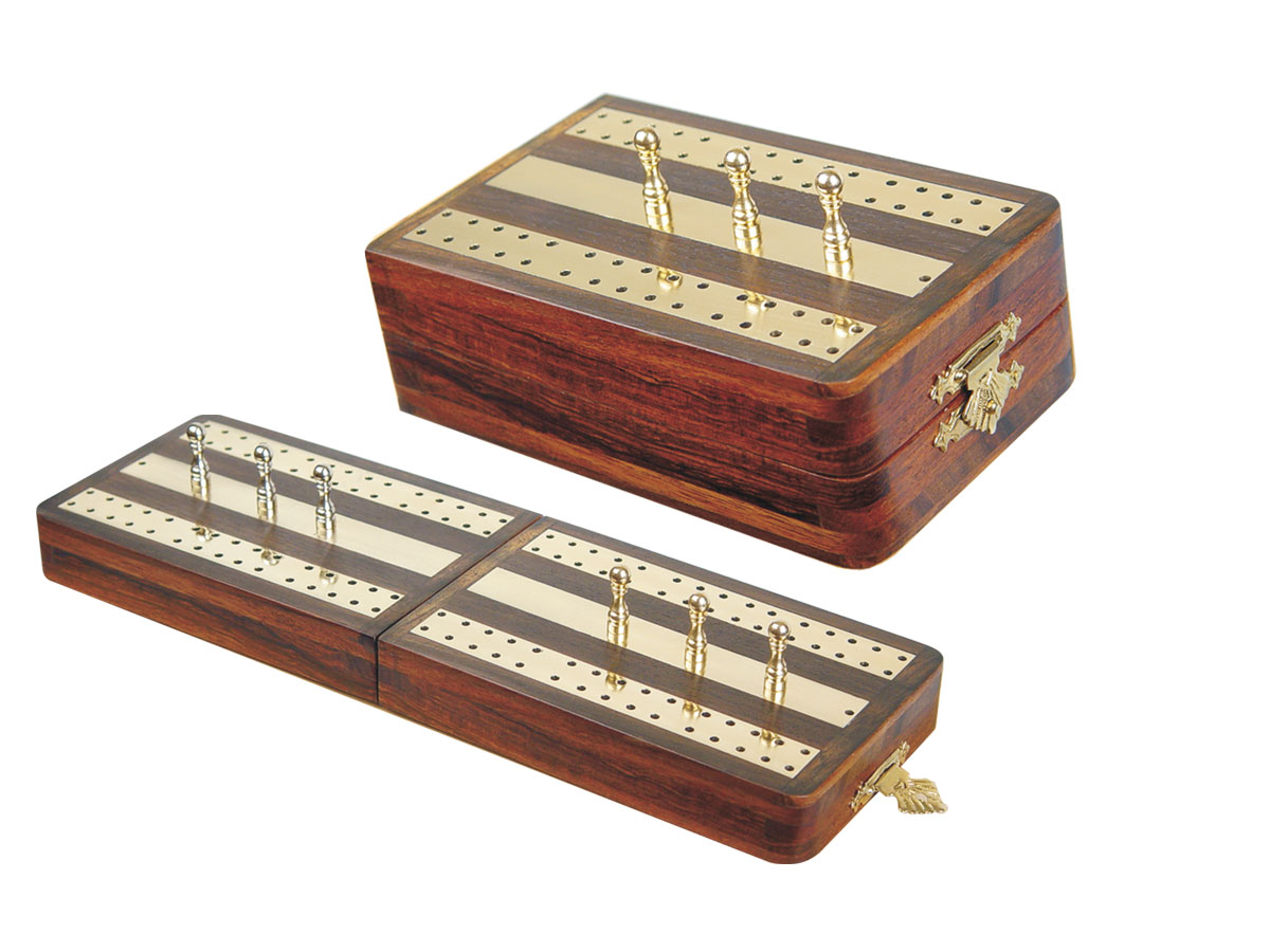 "Regalia Folding Cribbage Board & Box in Rosewood / Brass 10"" - 2 Tracks"