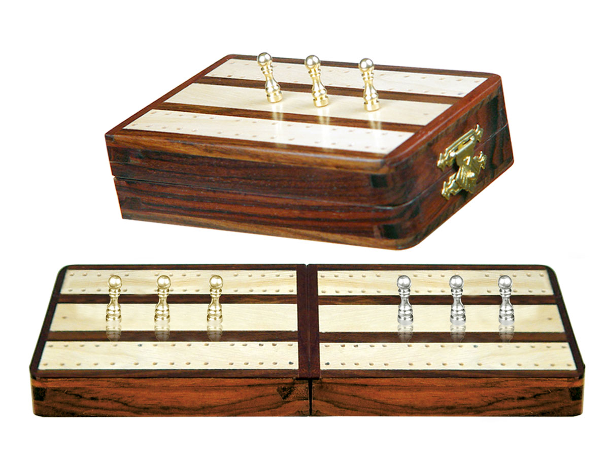 "Regalia Folding Cribbage Board & Box in Rosewood / Maple 10"" - 2 Tracks"