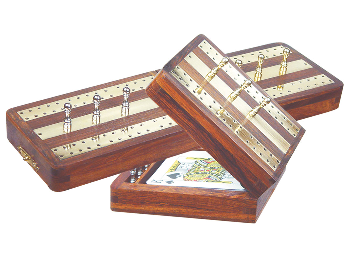 "Regalia Folding Cribbage Board & Box in Golden Rosewood / Brass 10"" - 2 Tracks"