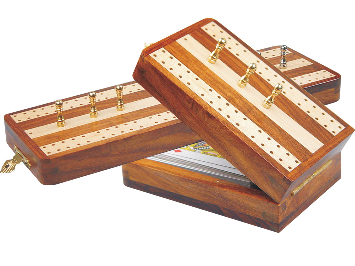 "Regalia Folding Cribbage Board & Box in Golden Rosewood / Maple 10"" - 2 Tracks"