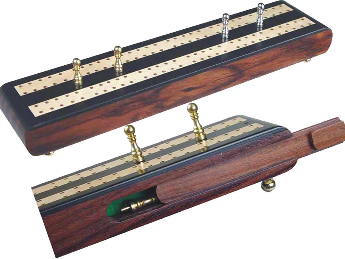 "Regalia Flat Cribbage Board in Ebony / Maple 10"" - 2 Tracks"