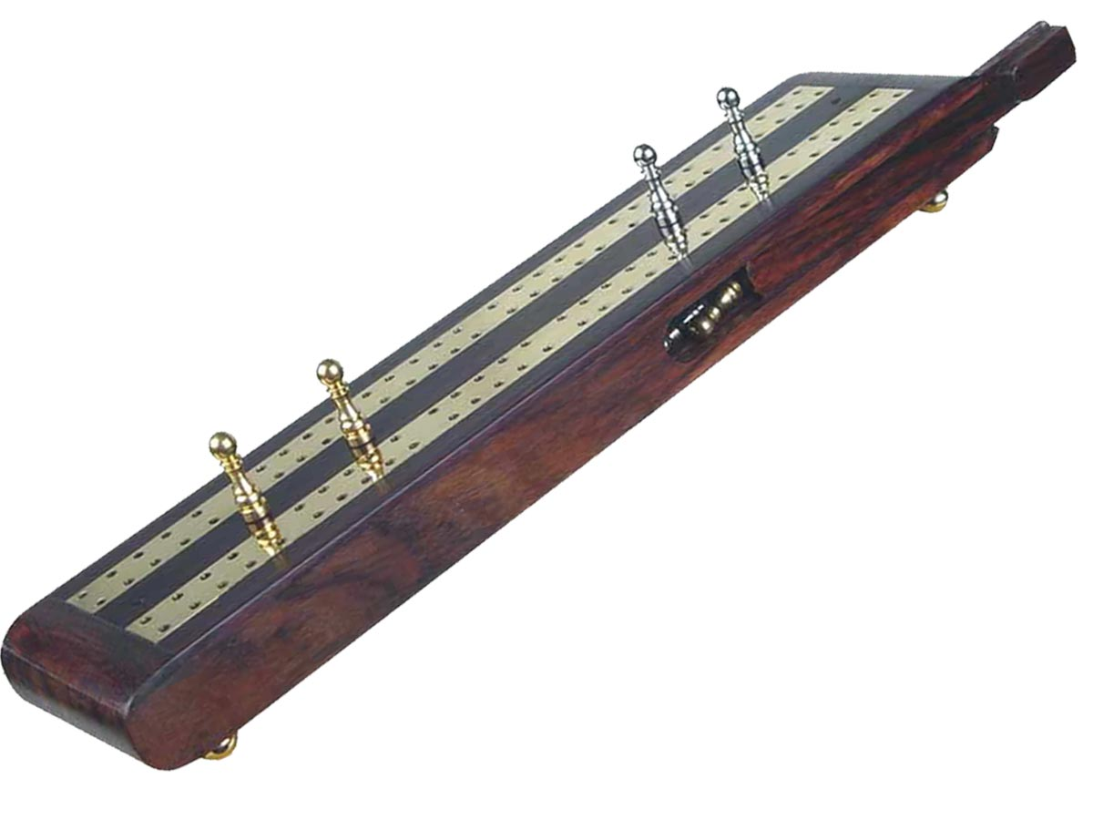 "Regalia Flat Cribbage Board in Rosewood / Brass 10"" - 2 Tracks"