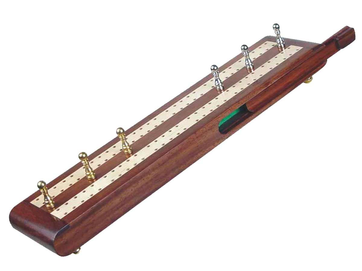 "Regalia Flat Cribbage Board in Rosewood / Maple 10"" - 2 Tracks"