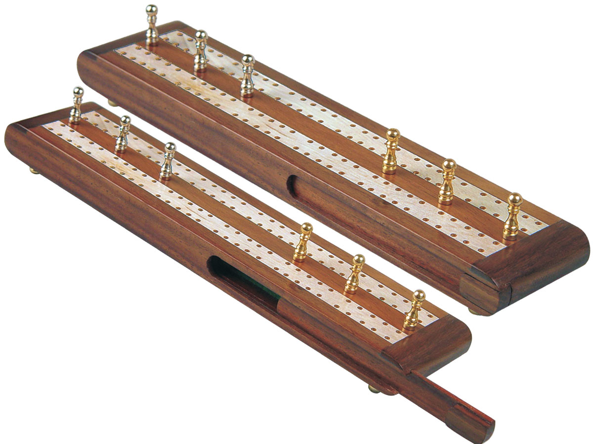 "Regalia Flat Cribbage Board in Golden Rosewood / Maple 10"" - 2 Tracks"