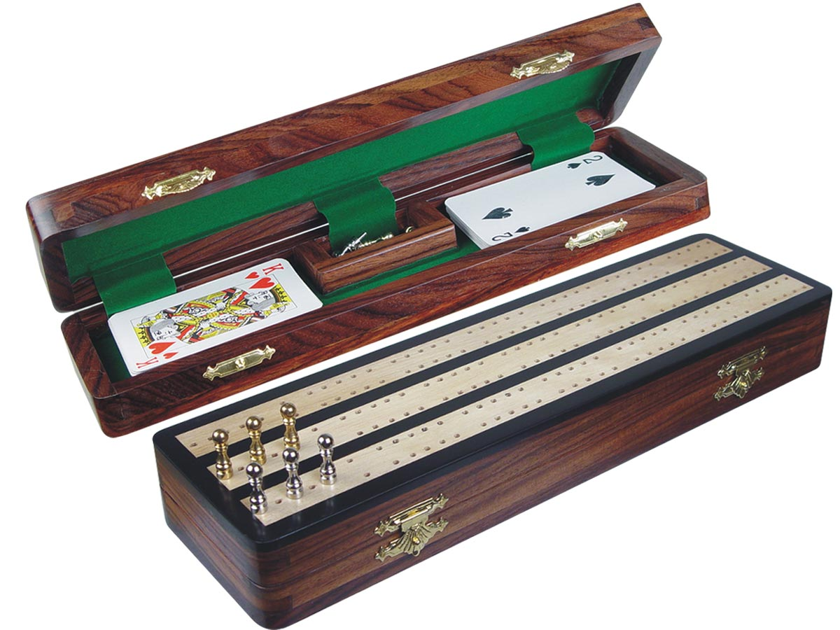 "Regalia Cribbage Board & Box in Ebony / Maple 12"" - 3 Tracks"