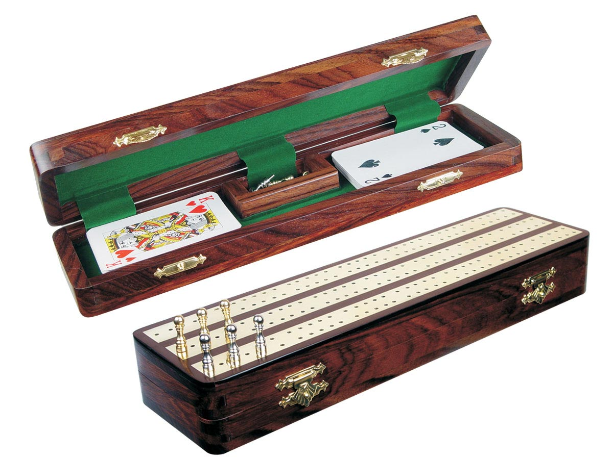 "Regalia Cribbage Board & Box in Rosewood / Brass 12"" - 3 Tracks"
