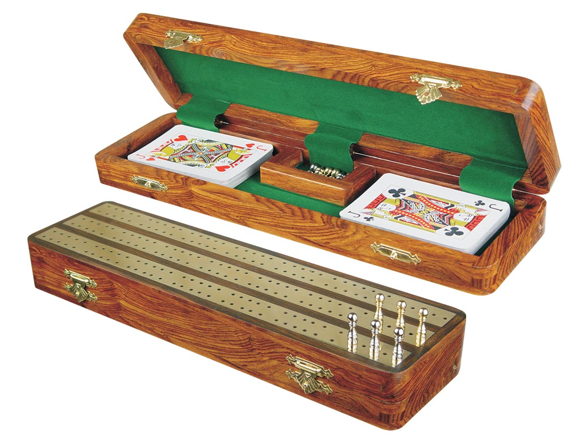 "Regalia Cribbage Board & Box in Golden Rosewood / Brass 12"" - 3 Tracks"