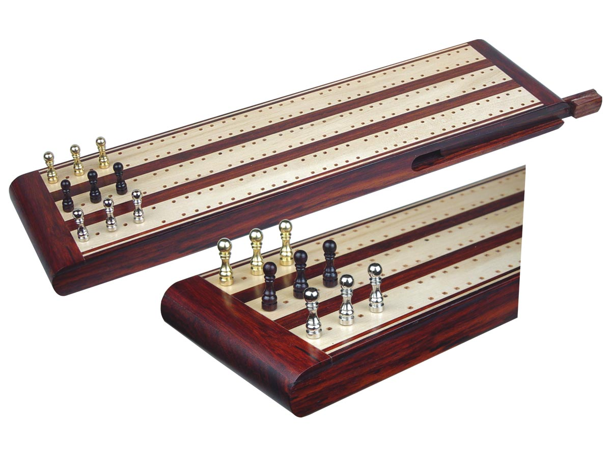 "Regalia Flat Cribbage Board in Rosewood / Maple 13"" - 3 Tracks"