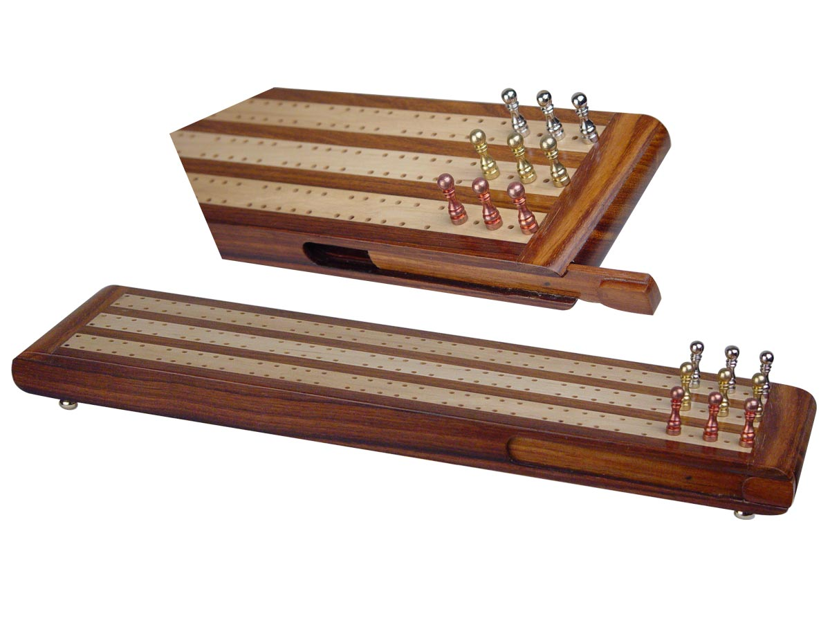 "Regalia Flat Cribbage Board in Golden Rosewood / Maple 13"" - 3 Tracks"