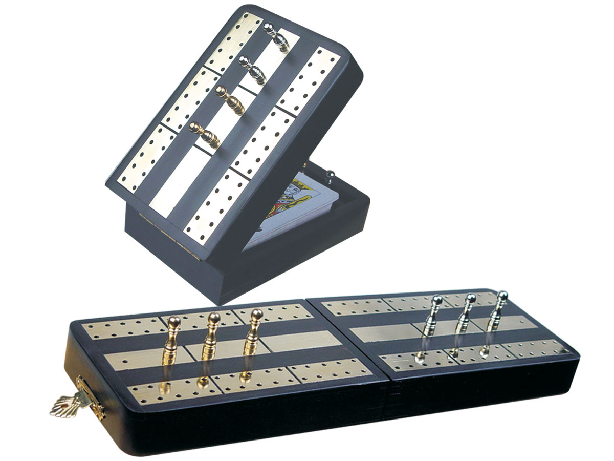 "Imperial Folding Cribbage Board & Box in Ebony / Brass 10"" - 2 Tracks"