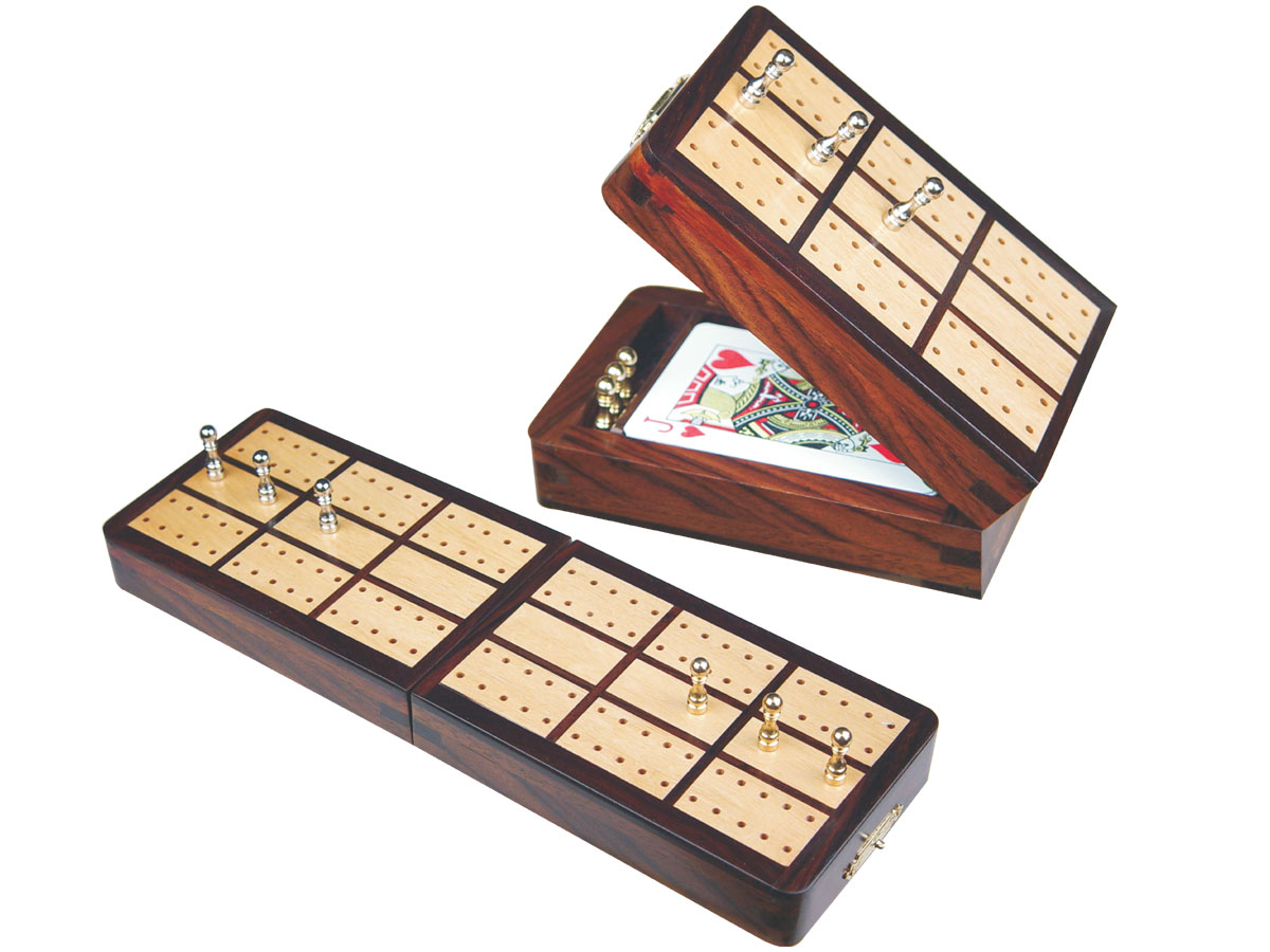 "Imperial Folding Cribbage Board & Box in Rosewood / Maple 10"" - 2 Tracks"