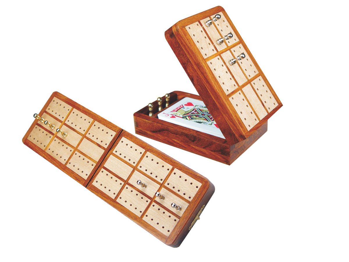 "Imperial Folding Cribbage Board & Box in Golden Rosewood / Maple 10"" - 2 Tracks"