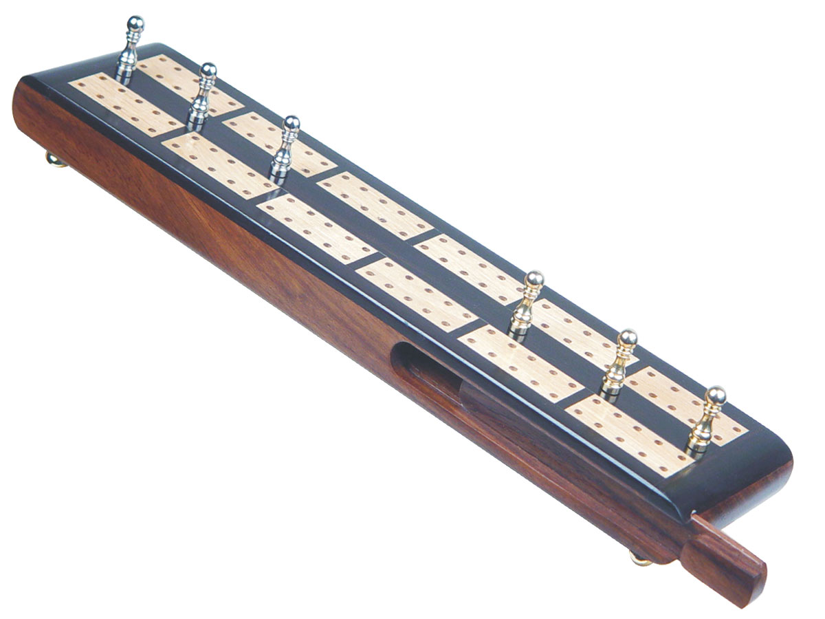 "Imperial Flat Cribbage Board in Ebony / Maple 10"" - 2 Tracks"