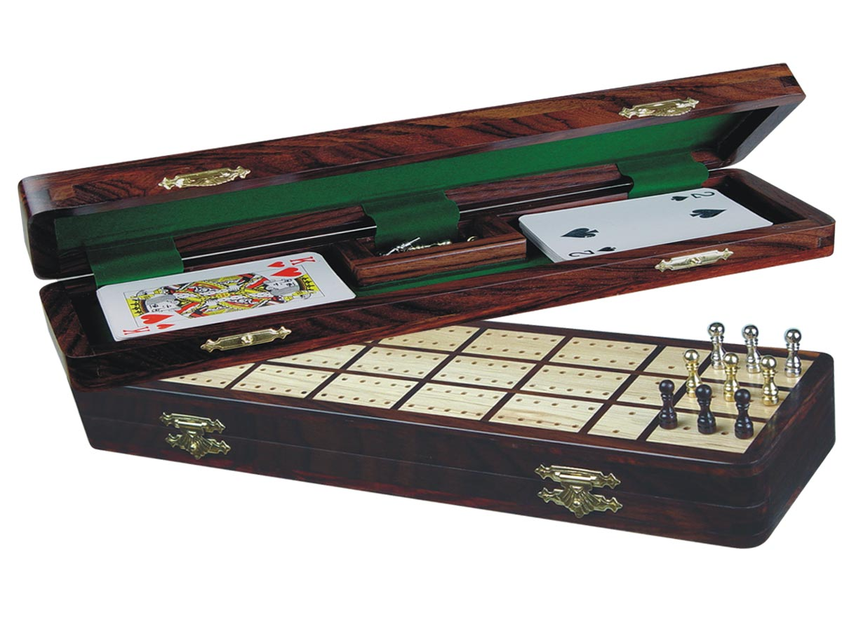 "Imperial Cribbage Board & Box in Rosewood / Maple 12"" - 3 Tracks"