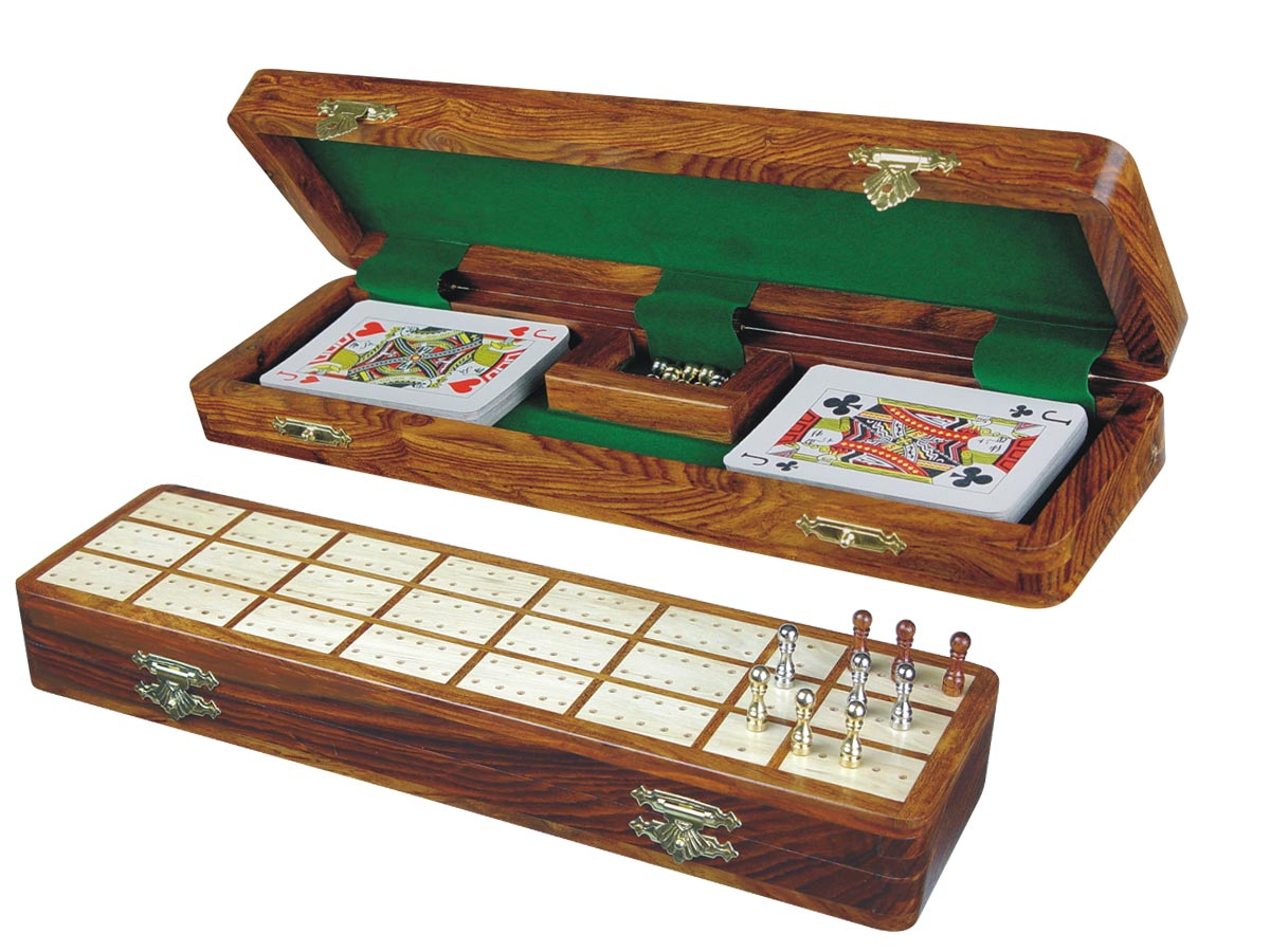 "Imperial Cribbage Board & Box in Golden Rosewood / Maple 12"" - 3 Tracks"