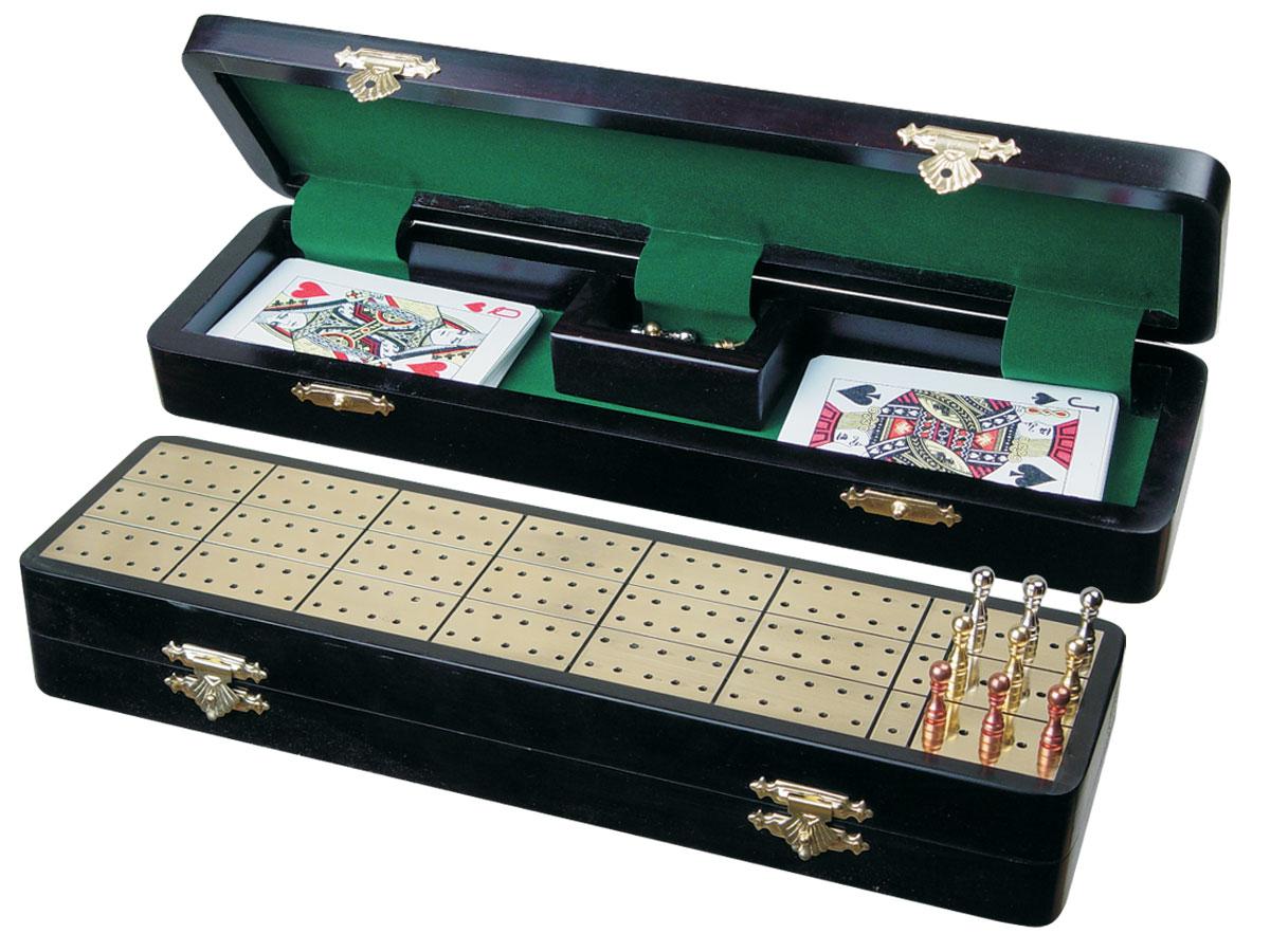 """Royal Cribbage Board & Box in Ebony / Brass 12"""" - 3 Tracks"""
