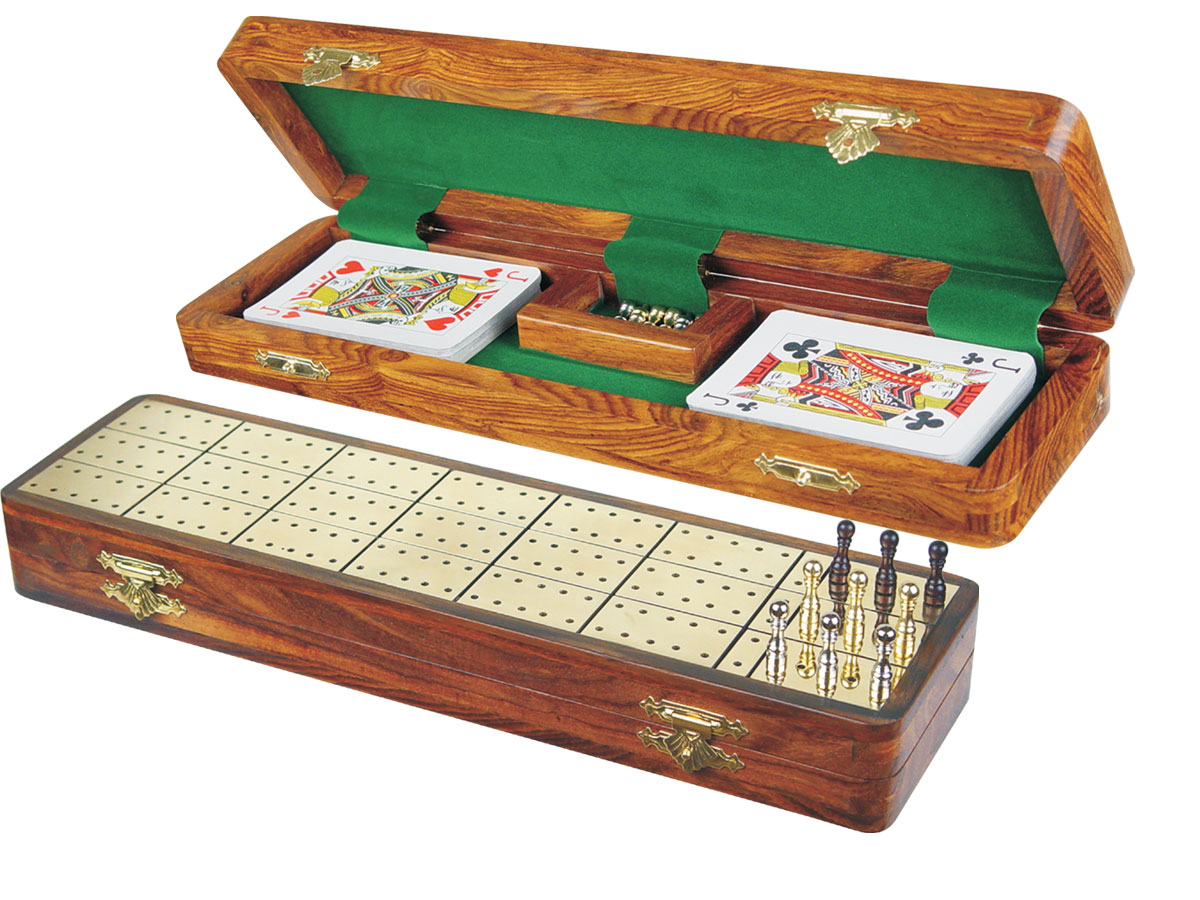 """Royal Cribbage Board & Box in Golden Rosewood / Brass 12"""" - 3 Tracks"""