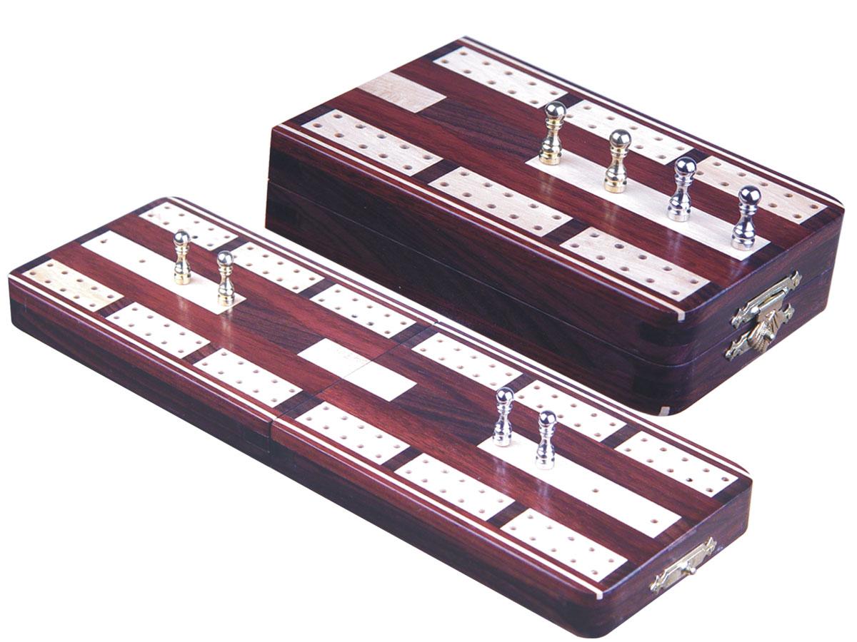 "Majestic Folding Cribbage Board & Box in Rosewood / Maple 10"" - 2 Tracks"