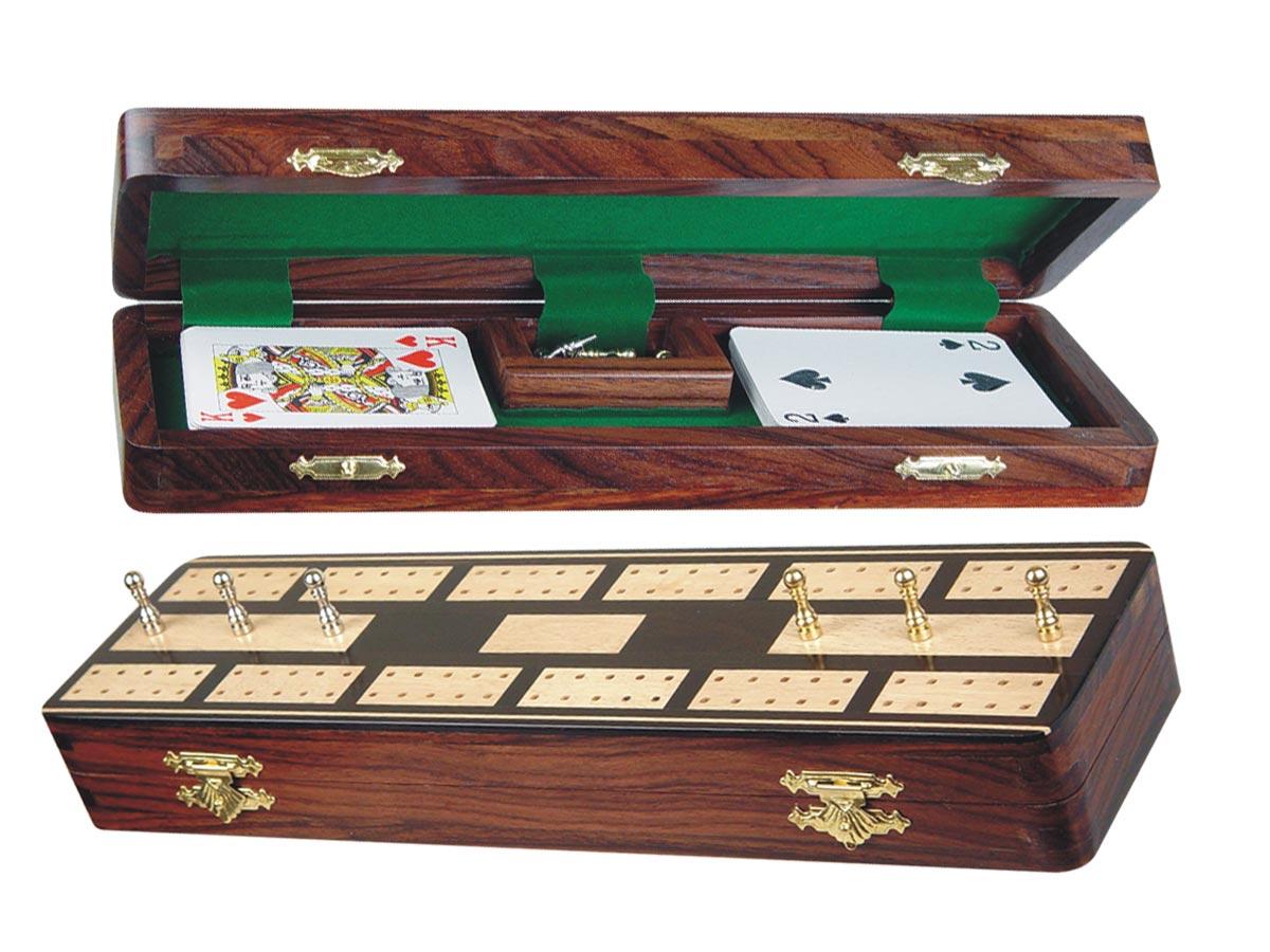 "Majestic Cribbage Board & Box in Ebony / Maple 12"" - 2 Tracks"