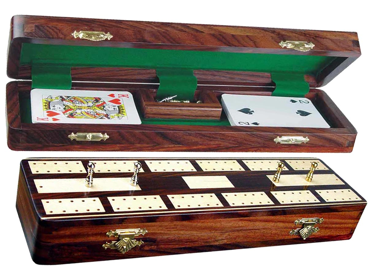 """Majestic Cribbage Board & Box in Rosewood / Maple 12"""" - 2 Tracks"""