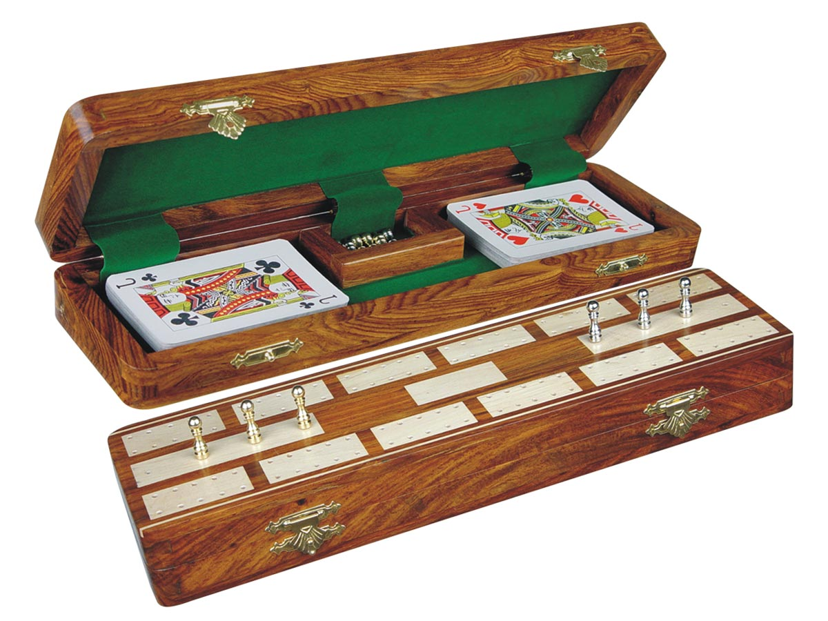 """Majestic Cribbage Board & Box in Golden Rosewood / Maple 12"""" - 2 Tracks"""