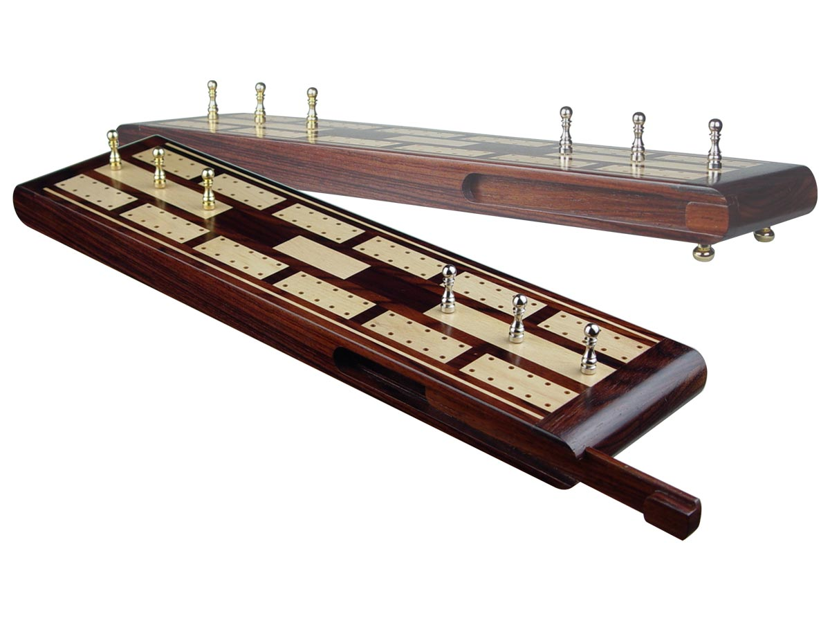 """Majestic Flat Cribbage Board in Rosewood / Maple 13"""" - 2 Tracks"""