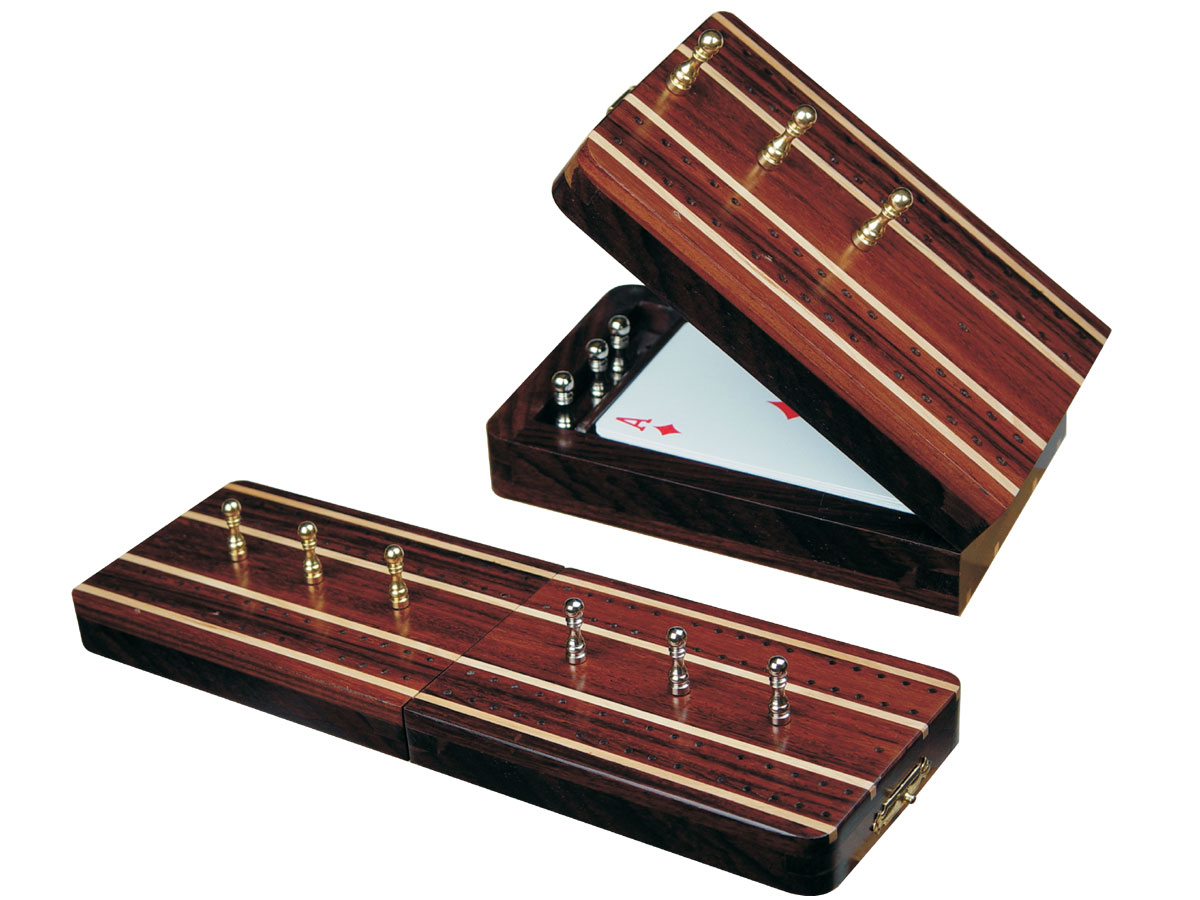 "Supreme Folding Cribbage Board & Box in Rosewood / Maple 10"" - 2 Tracks"