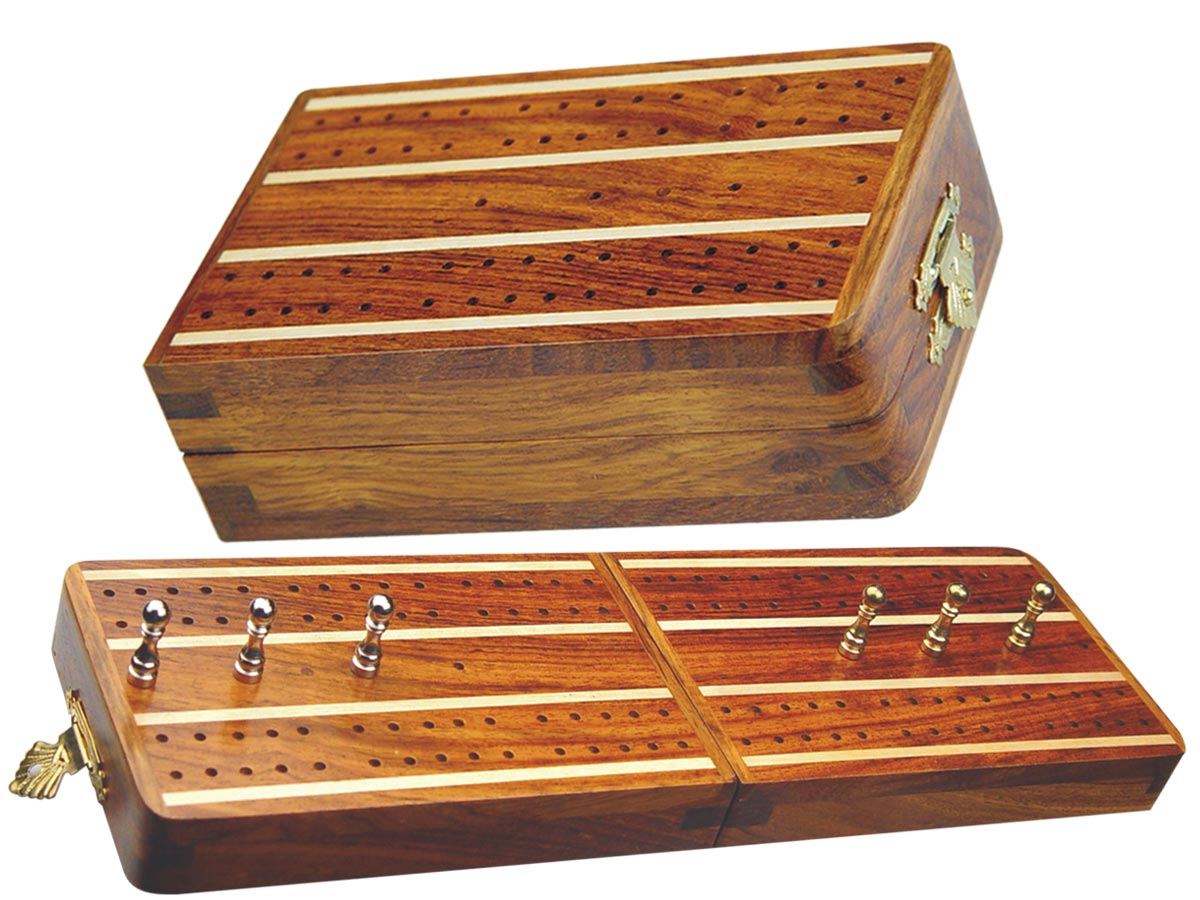 "Supreme Folding Cribbage Board & Box in Golden Rosewood / Maple 10"" - 2 Tracks"