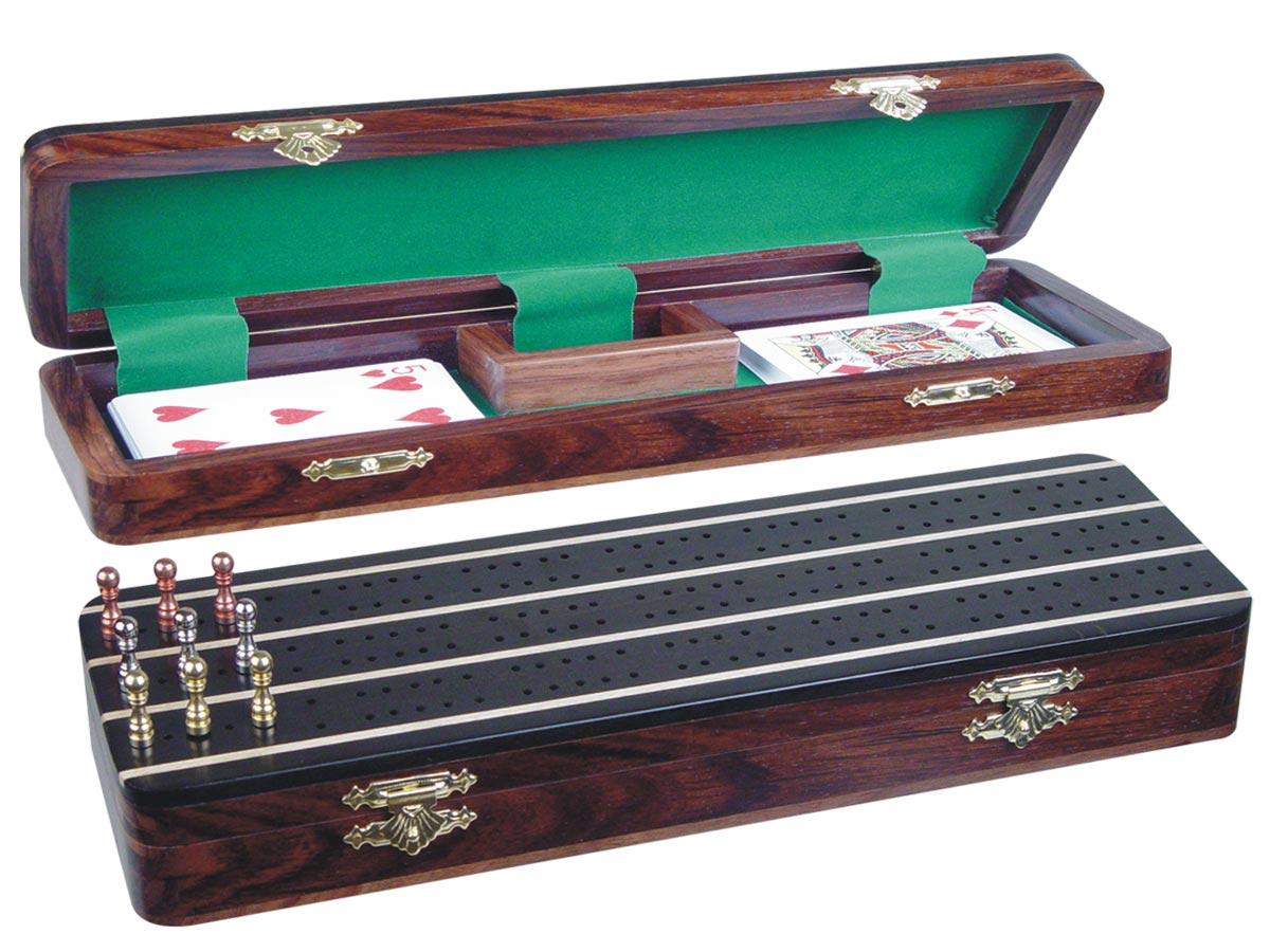 """Supreme Cribbage Board & Box in Ebony / Maple 12"""" - 3 Tracks"""