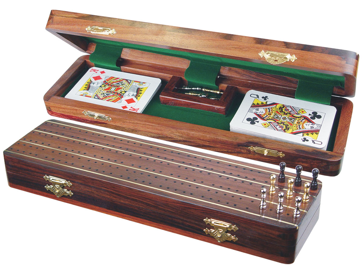 "Supreme Cribbage Board & Box in Rosewood / Brass 12"" - 3 Tracks"