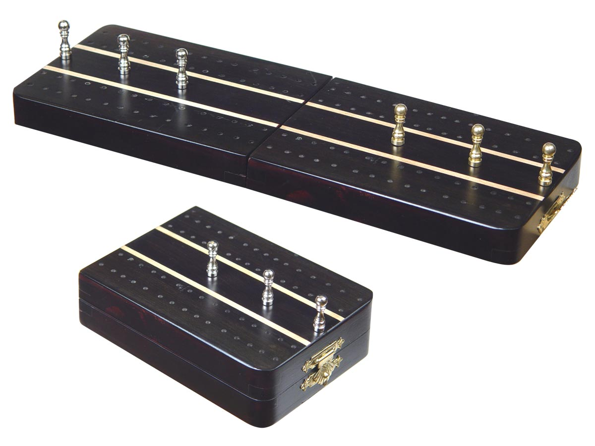"Sovereign Folding Cribbage Board & Box in Ebony / Maple 10"" - 2 Tracks"