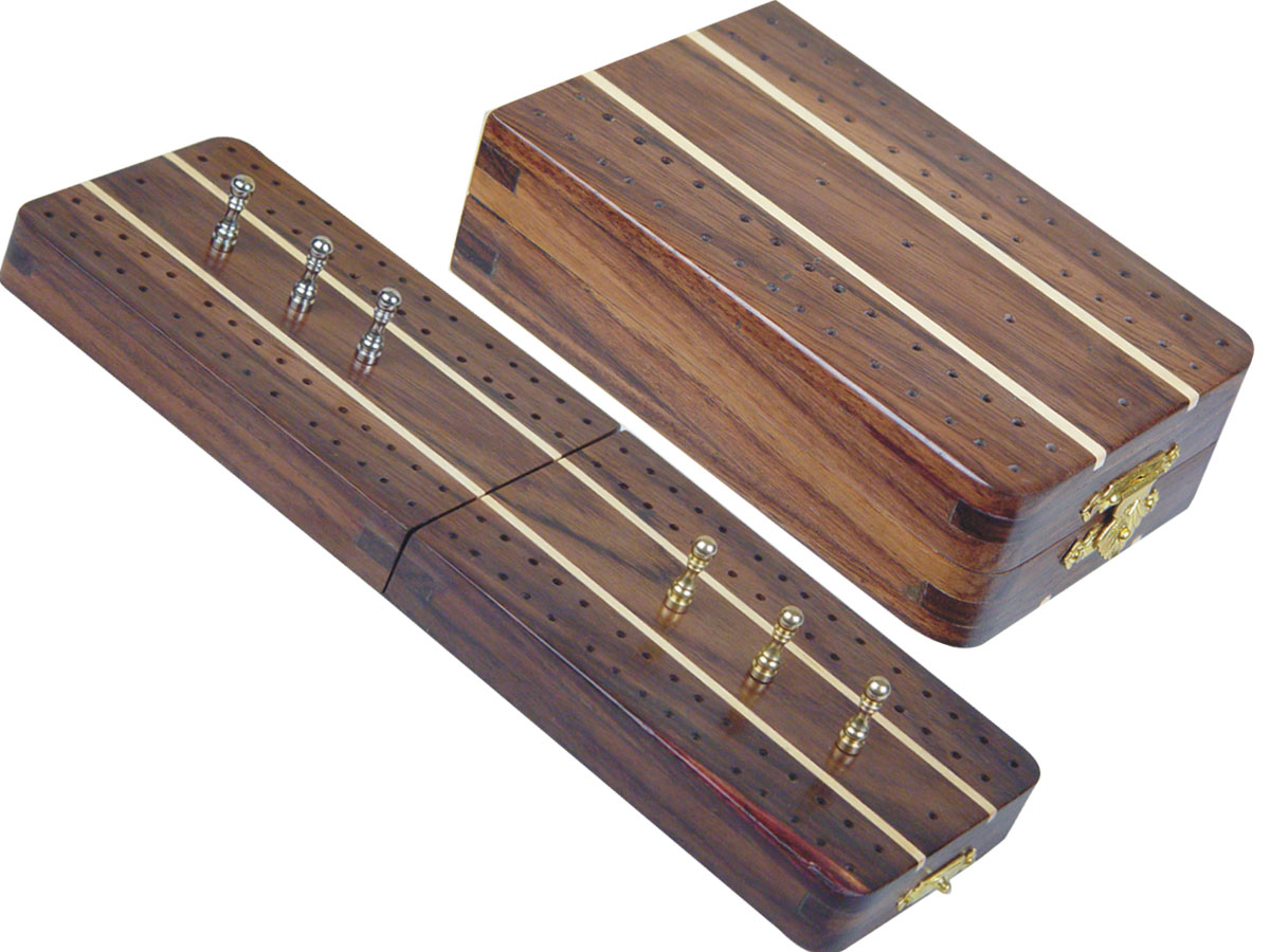 "Sovereign Folding Cribbage Board & Box in Rosewood / Maple 10"" - 2 Tracks"