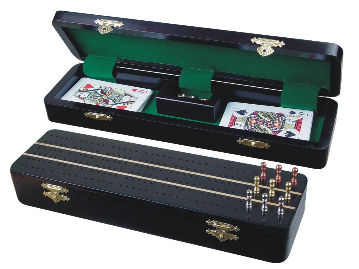 "Sovereign Cribbage Board & Box in Ebony / Maple 12"" - 3 Tracks"