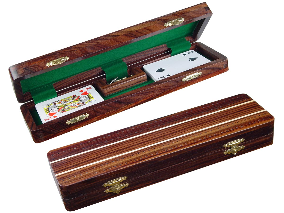 "Sovereign Cribbage Board & Box in Rosewood / Maple 12"" - 3 Tracks"