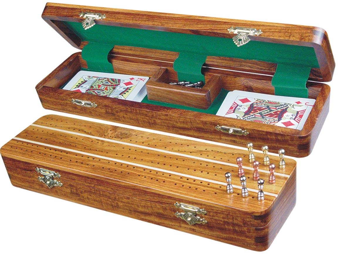"Sovereign Cribbage Board & Box in Golden Rosewood / Maple 12"" - 3 Tracks"