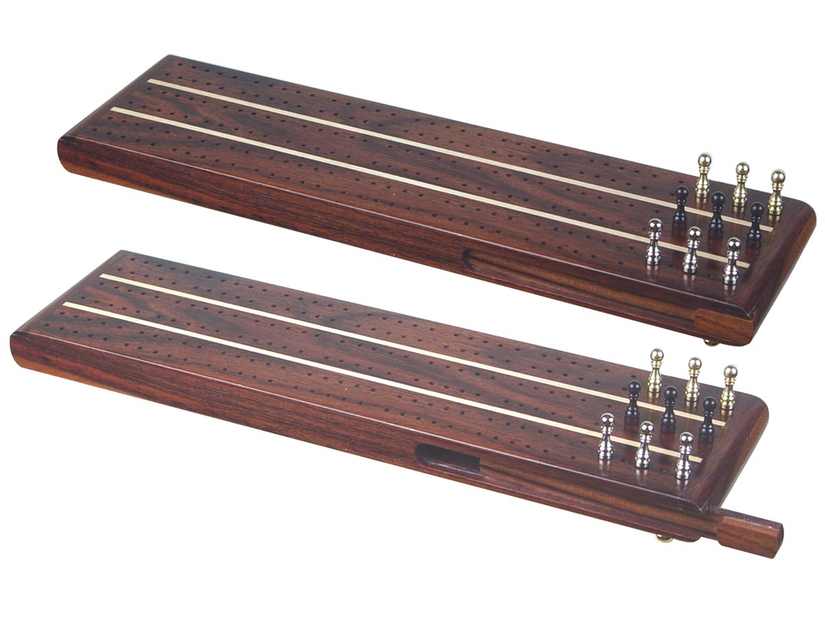 "Sovereign Flat Cribbage Board in Rosewood / Maple 13"" - 3 Tracks"