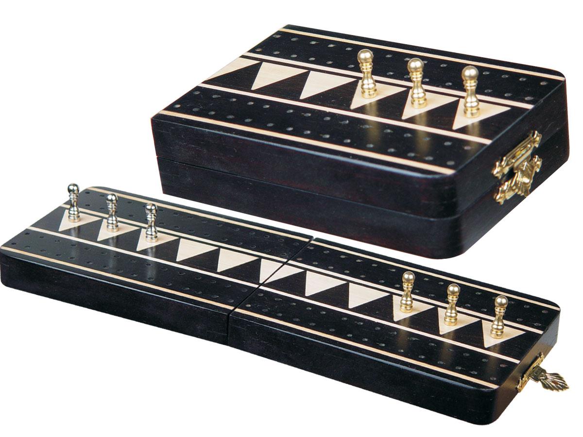"Monarch Folding Cribbage Board & Box in Ebony / Maple 10"" - 2 Tracks"
