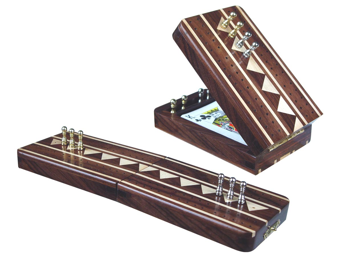 """Monarch Folding Cribbage Board & Box in Rosewood / Maple 10"""" - 2 Tracks"""