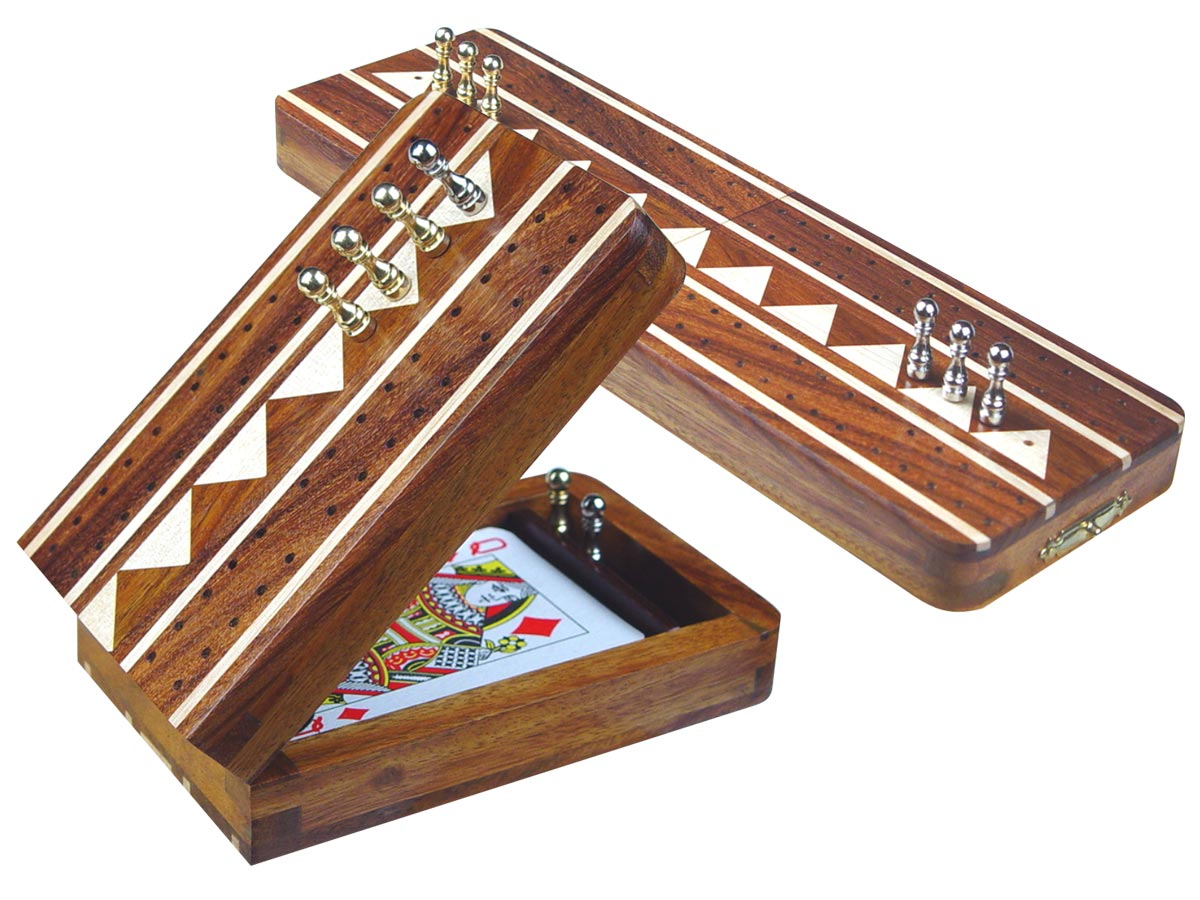 """Monarch Folding Cribbage Board & Box in Golden Rosewood / Maple 10"""" - 2 Tracks"""
