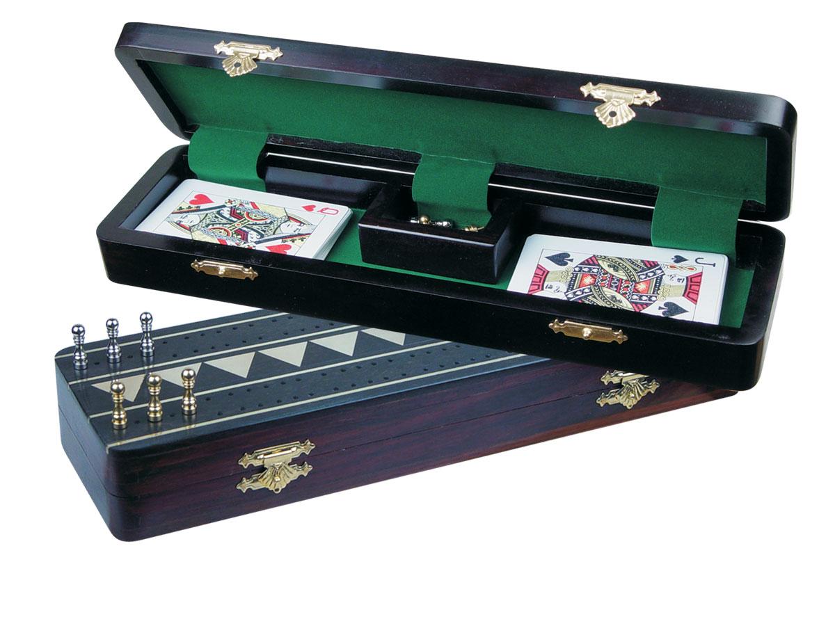 "Monarch Cribbage Board & Box in Ebony / Brass 12"" - 2 Tracks"