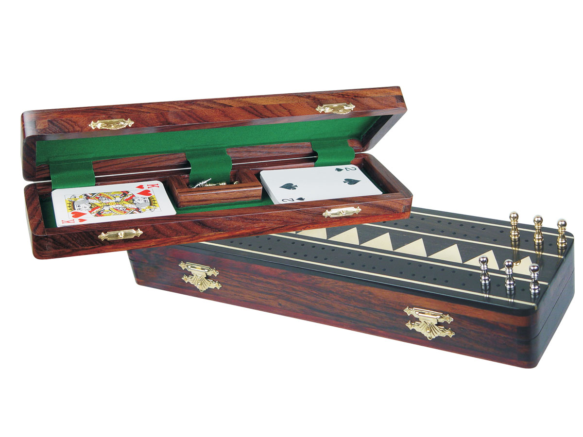 "Monarch Cribbage Board & Box in Ebony / Maple 12"" - 2 Tracks"