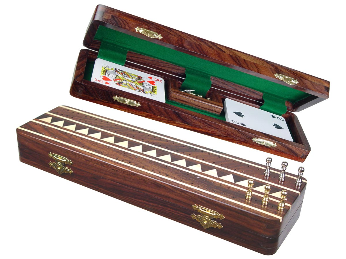 """Monarch Cribbage Board & Box in Rosewood / Maple 12"""" - 2 Tracks"""