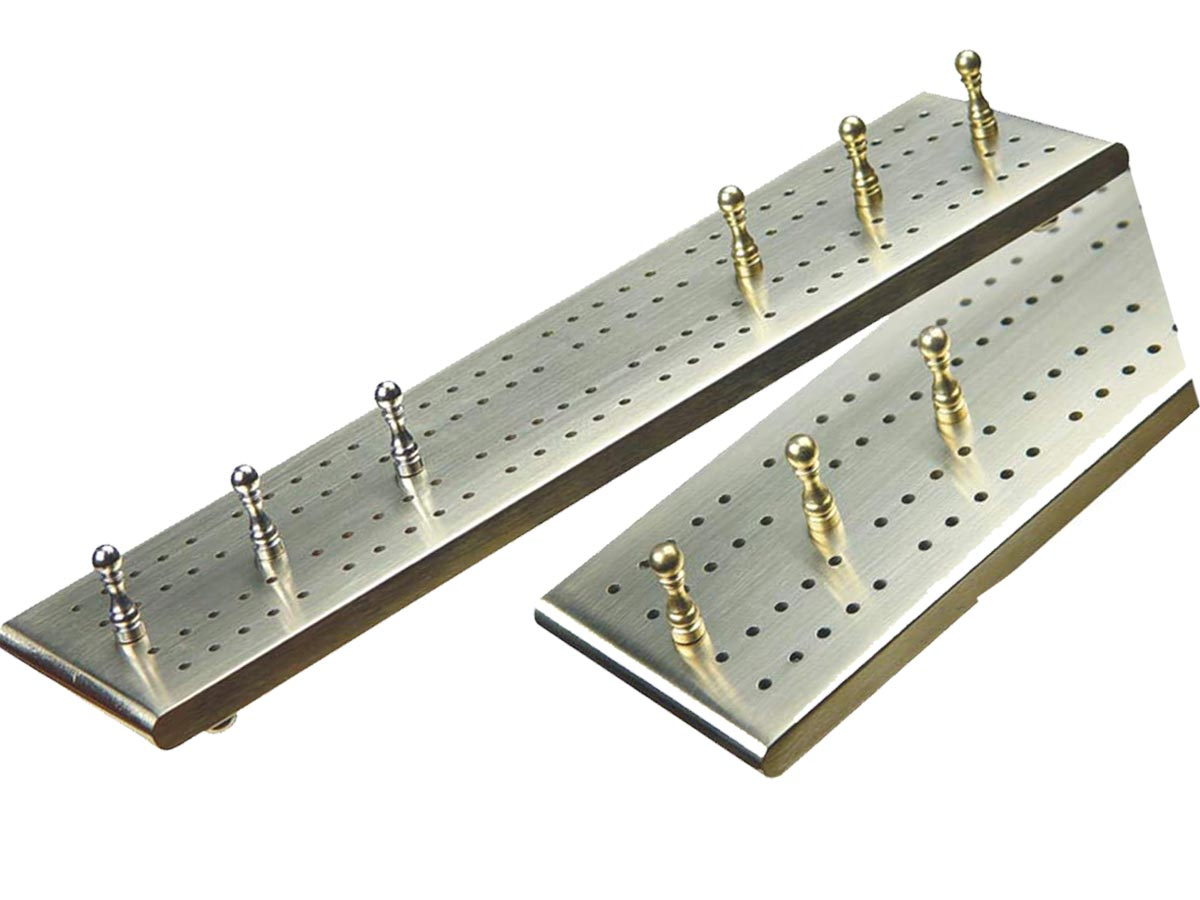 """Victorian Flat Cribbage Board in Solid Brass 10"""" - 2 Tracks"""