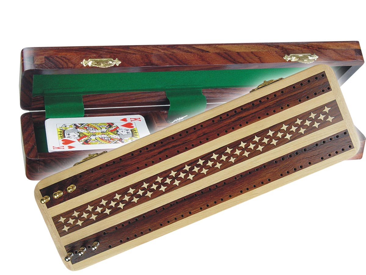 """Artistic Cribbage Board & Box in Maple/Rosewood 12"""" - 2 Tracks"""