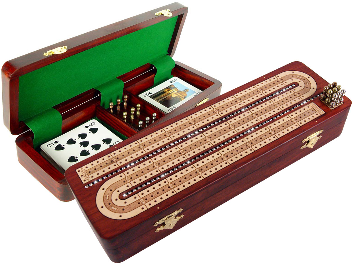 Continuous Cribbage Board Studded with Crystals Similar to Diamonds on Bloodwood Box inlaid with Maple - 3 Track