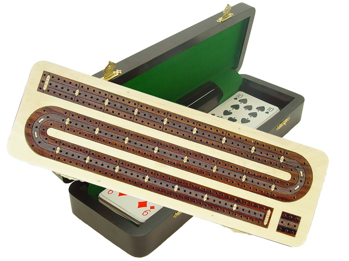 "Continuous Cribbage Board / Box inlaid in White Maple / Rosewood 12"" - 3 Tracks"