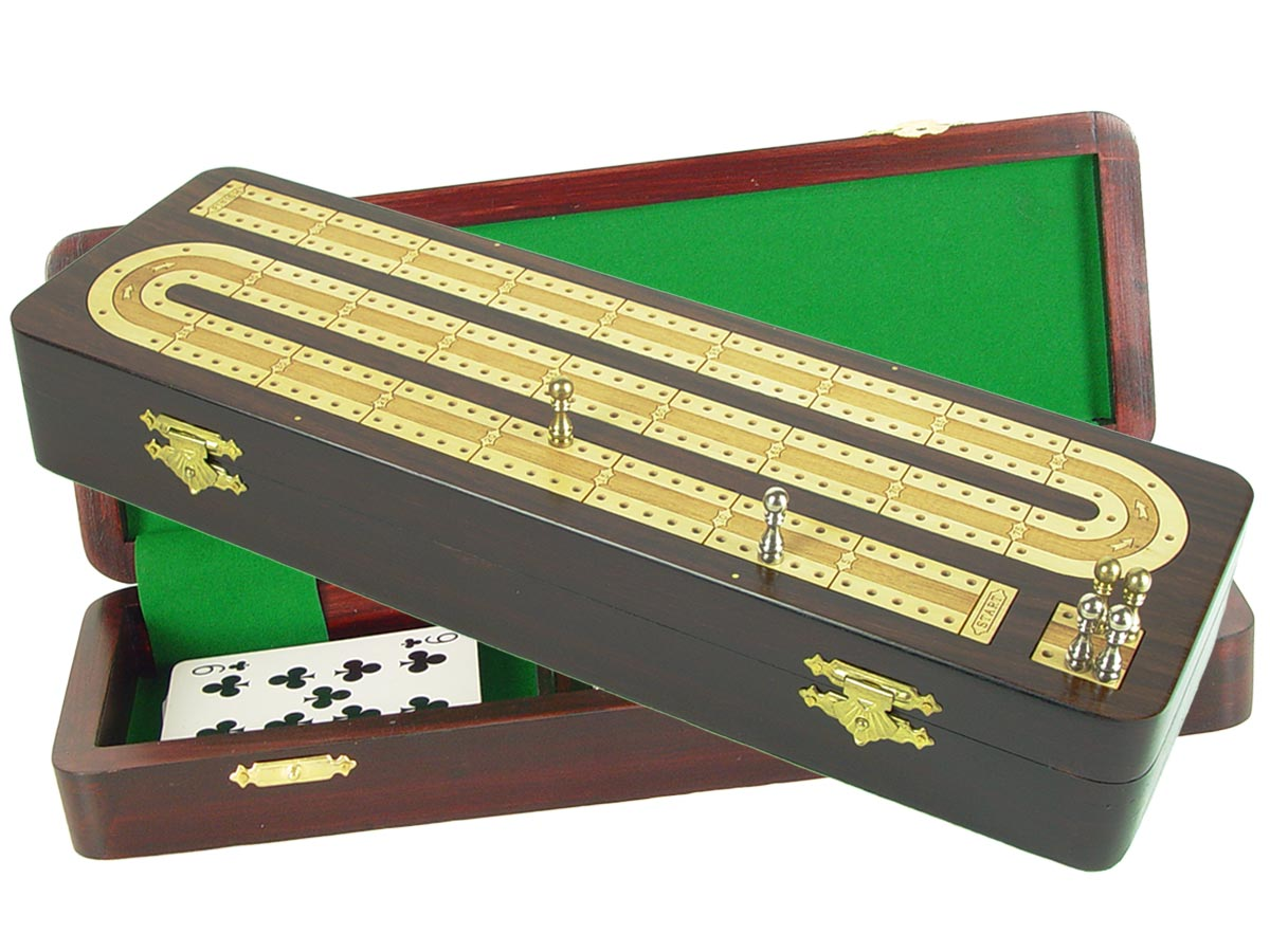 Continuous Cribbage Board in Rosewood / Maple : 2 Tracks :: 12""