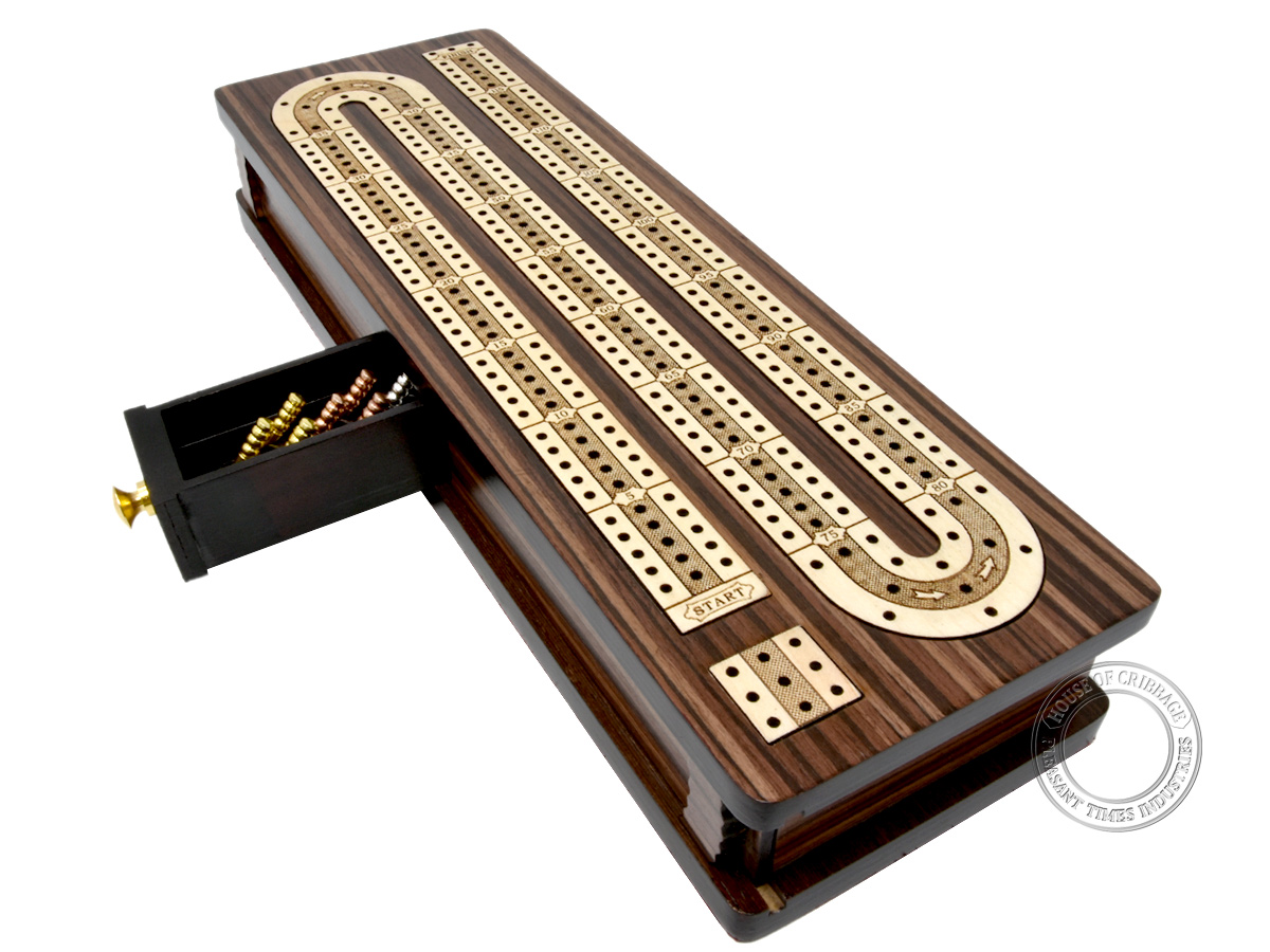 "Continuous Cribbage Board / Box inlaid in Rosewood / Maple 12"" - 3 Tracks : Sliding Lid : Drawer"