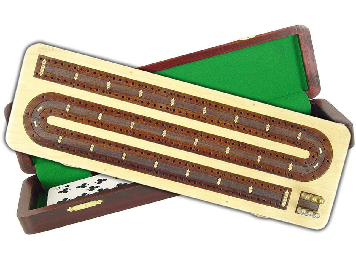 Continuous Cribbage Board in Maple / Rosewood : 2 Tracks :: 12""