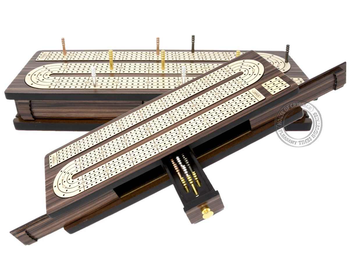 Continuous Cribbage Board Inlaid 4 Tracks Rosewood/Maple with Sliding Lids and Drawer